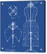Dress Form Patent 1891 Blueprint Acrylic Print