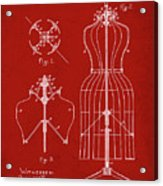 Dress Form Patent 1891 Red Acrylic Print