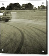 Drifting Tracks Japanese Car Drifting Round A Corner With Tyres Smoking Acrylic Print