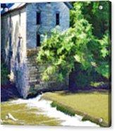 Drinkwater And Schriver Mill Cedar Point Kansas  Acrylic Print