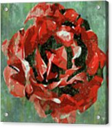 Dripping Poster Rose On Green Acrylic Print