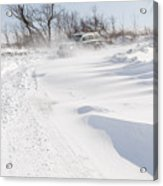 Driving In Drifting Snow Acrylic Print