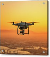 Drone Flying On Sunset Acrylic Print