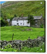 Dry Stone Wall And White Cottage - P4a16022 Acrylic Print