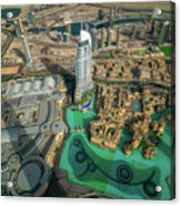 Dubai Downtown Aerial View By Sunset, Dubai, United Arab Emirates Acrylic Print