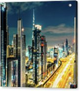 Dubai Downtown Architecture And A Highway.  Acrylic Print