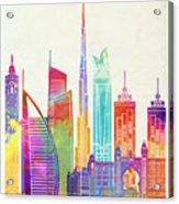Dubai Landmarks Watercolor Poster Acrylic Print