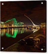 Dublin's Samuel Beckett Bridge At Night Acrylic Print