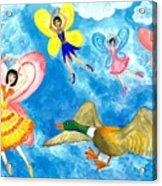 Duck Meets Fairy Ballet Class Acrylic Print