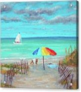 Dunes Beach Colorful Umbrella Acrylic Print