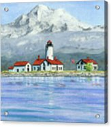Dungeness Lighthouse With Mount Baker Acrylic Print