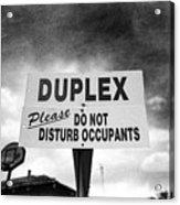 Duplex Yard Sign Stormy Sky In Bw Acrylic Print
