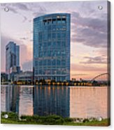 Dusk Panorama Of The Woodlands Waterway And Anadarko Petroleum Towers - The Woodlands Texas Acrylic Print