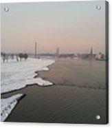 Dusseldorf Rhine In The Snow Acrylic Print