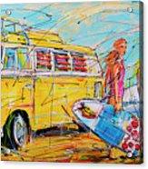 Dutch Holiday, Yellow Surf Bus Acrylic Print
