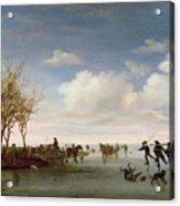 Dutch Landscape With Skaters Acrylic Print by Salomon van Ruysdael