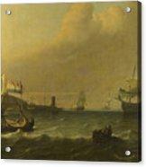 Dutch Men Of War Entering A Mediterranean Port Acrylic Print