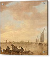 Dutch Seascape With Fishings Boats Acrylic Print