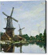 Dutch Windmills Acrylic Print by Eugene Louis Boudin