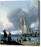Dutchman Embarking Onto A Yacht Acrylic Print