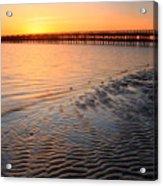 Duxbury Beach Powder Point Bridge Sunset Acrylic Print by John Burk