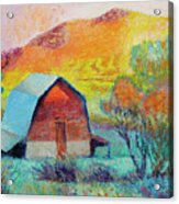 Dyeleaf Mountain Barn Sunrise Acrylic Print