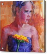 E With A Yellow Flower Acrylic Print