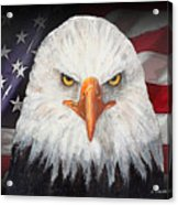Eagle And The Flag Acrylic Print by Arline Wagner