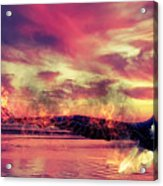 Eagle In Fire Acrylic Print