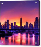 Early Brisbane Sunset With Purple And Yellow Sky Acrylic Print