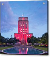 Early Dawn Architectural Photograph Of Houston City Hall And Hermann Square - Downtown Houston Texas Acrylic Print