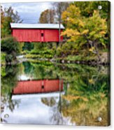 Early Fall Colors Surround A Covered Bridge In Vermont Acrylic Print