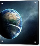 Earth And Moon Space View Acrylic Print