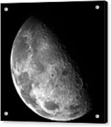 Earth's Moon In Black And White Acrylic Print