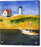 East Coast Lighthouse With Crab Boat Acrylic Print