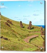 Easter Island Moai At Rano Raraku Acrylic Print
