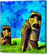 Easter Island - Van Gogh Style - Pa Acrylic Print
