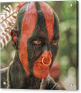 Eastern Woodland Indian Portrait Acrylic Print by Randy Steele