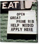 Eat Sign Acrylic Print
