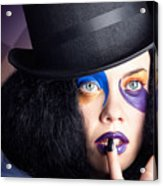 Eccentric Mad Fashion Hatter In Colourful Makeup Acrylic Print