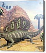 Edaphosaurus Dinosaur - 3d Render Acrylic Print