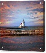 Edgewater Lighthouse Sunset Acrylic Print