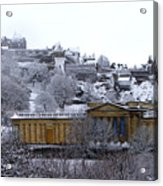 Edinburgh Castle And National Galleries Of Scotland In Winter Acrylic Print