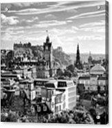 Edinburgh From Calton Hill.    Black And White Acrylic Print