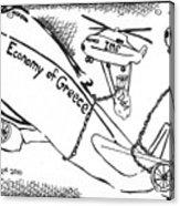 Editorial Maze Cartoon - Economy Of Greece By Yonatan Frimer Acrylic Print