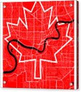 Edmonton Street Map - Edmonton Canada Road Map Art On Canada Flag Symbols Acrylic Print