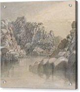 Edward Lear - River Pass Between Semi Barren Rock Cliffs Acrylic Print