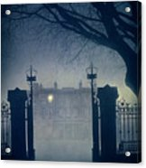 Eerie Mansion In Fog At Night Acrylic Print