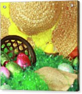 Eggs And A Bonnet For Easter Acrylic Print