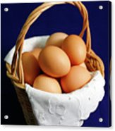 Eggs In A Wicker Basket. Acrylic Print